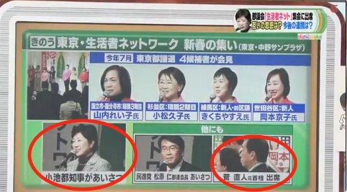 小池百合子は「有田芳生」を支援する生活者ネットワークの集会で「菅直人」と同席しましたよ。