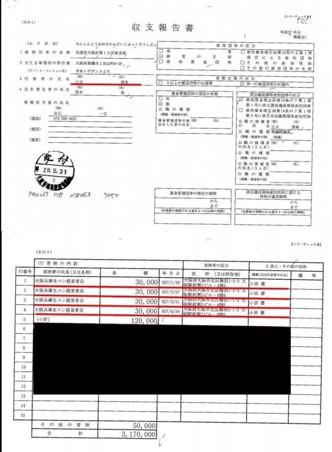 辻元清美の平成26度及び27年度の政治資金収支報告書を見ると、いずれも大阪兵庫生コン経営者会から政治献金を受け取っている。