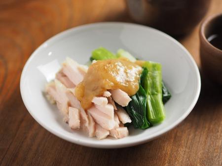 蒸し鶏と大ねぎの辛子酢みそ06