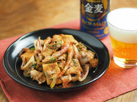 ゲソと豆腐のマヨしょう油炒め43