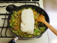 キャベツと合い挽き肉の焼飯17