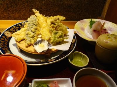 天ぷらと刺身の御膳
