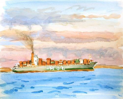 東京湾をゆく船-17