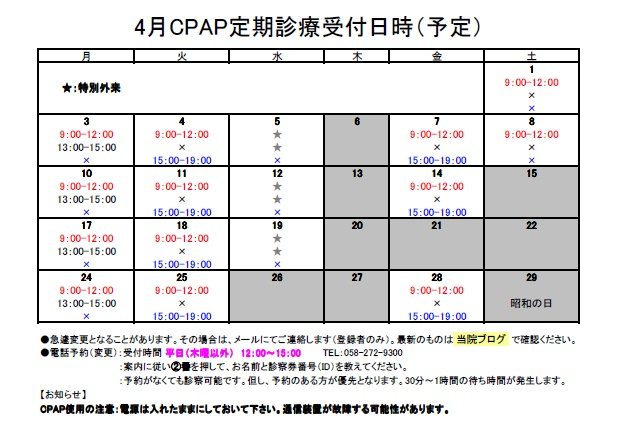2017年4月CPAP定期診療受付日時③