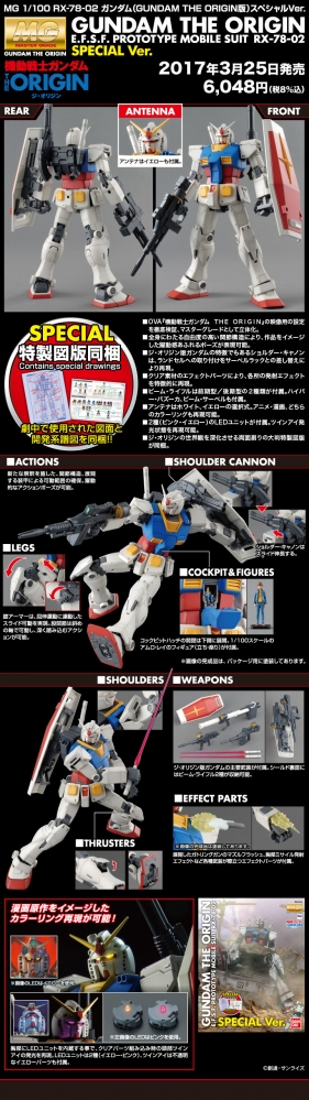 MG RX-78-02 ガンダム (GUNDAM THE ORIGIN版) スペシャルVer.のキット解説画像