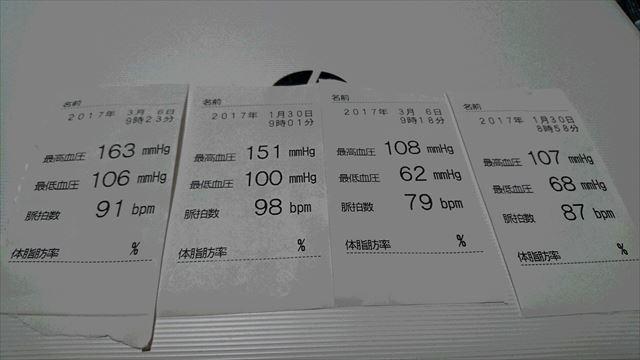 左2枚がボクの血圧