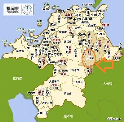 福岡地図 - 添田