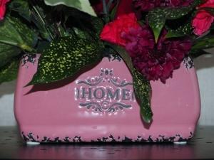 ピンクの陶器ベース