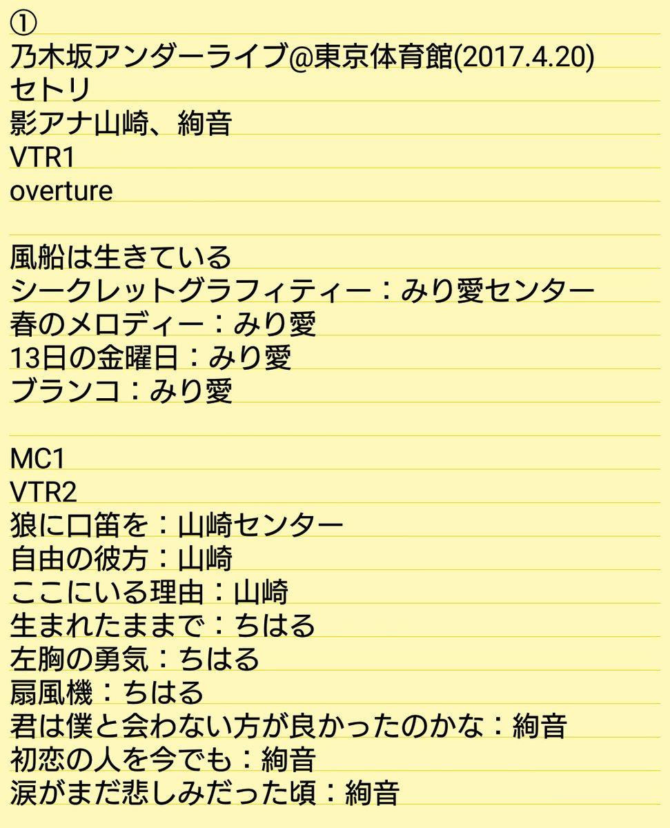 乃木坂46「アンダーライブ全国ツアー2017」東京公演・初日セトリ