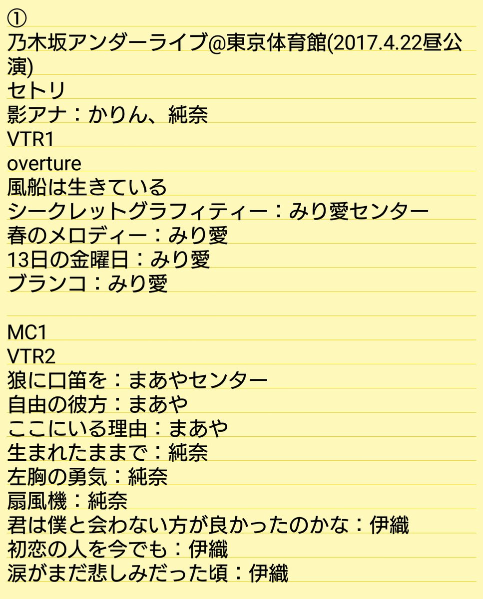 乃木坂46「アンダーライブ全国ツアー2017」東京公演3日日・昼セトリ
