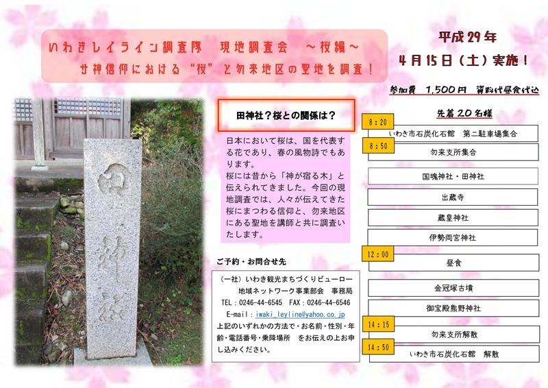 いわきレイライン調査隊 現地調査会~桜編~[平成29年4月11日(火)更新]