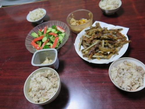 岩下汁と豚肉の炊き込みご飯、ごぼうの唐揚げ、メンマ