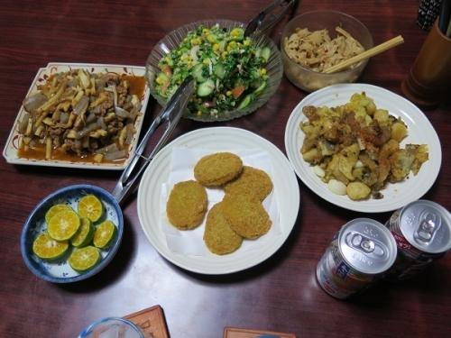 タケノコとコンニャク入りプルコギ、謎の菜っ葉とツナコーンサラダ、揚げ物いため、コロッケ