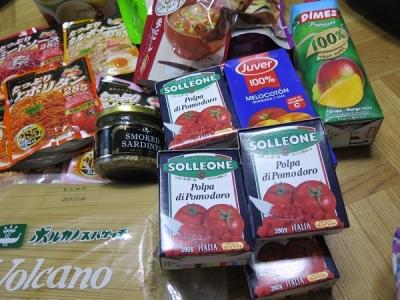ダイストマトとジュース、オイルサーディン