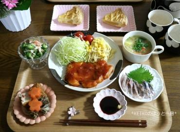 花金のポークケチャップ定食3