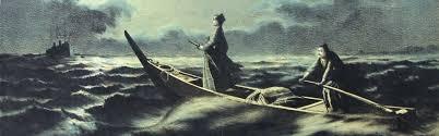 170506柿崎の海岸から漕ぎ出す松陰と金子