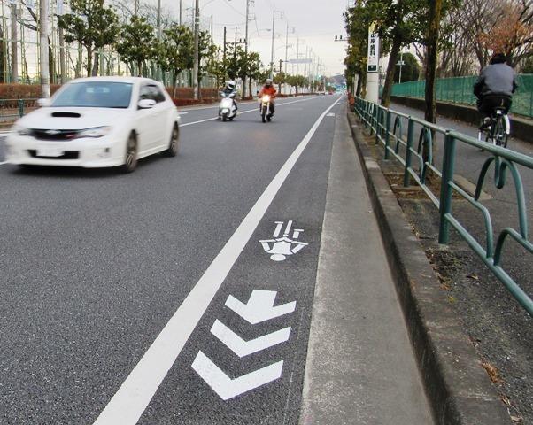 道路に端に書かれた自転車の標識