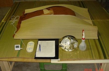 5 保温が完了と記録用紙と消毒