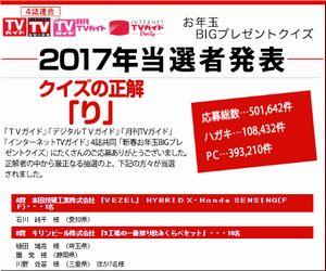 懸賞当選 2017年新春お年玉BIGプレゼントクイズ ホンダ 「VEZEL HYBRID X ・Honda SENSING(FF)」 TVガイド