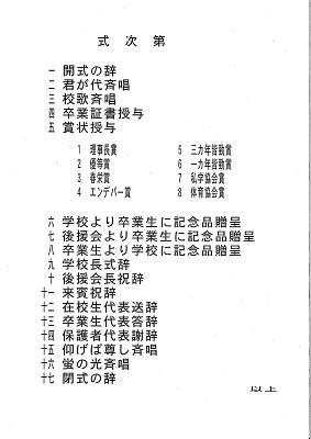 春日部共栄中学校第12回卒業式式次第(平成29年3月15日)