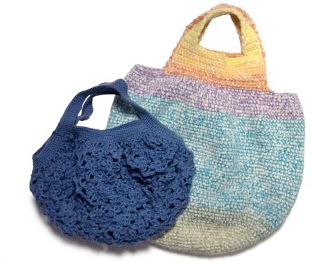 細編みと小花つなぎのバッグ