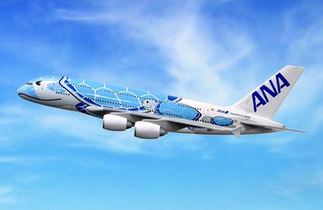 ANAは、空飛ぶウミガメ「FLYING HONU」就航を発表!エアバスA380型機の特別塗装機です。