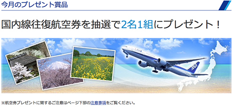ANAメルマガ登録会員が応募できる今月のプレゼントは、国内線往復航空券2名1組!