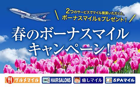ANAは、2つのサービス利用で、もれなくボーナスマイルがもらえる「春のボーナスマイルキャンペーン!」を開催!