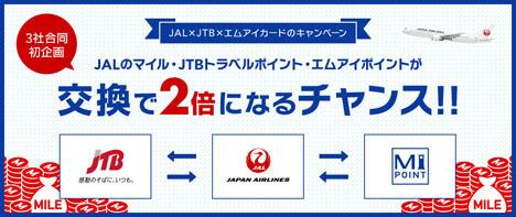 JALは、JALマイル・JTBトラベルポイント・エムアイポイントが交換で2倍になるキャンペーンを開催!