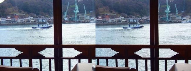 料亭旅館 魚信 須磨の間からの尾道水道③(交差法)