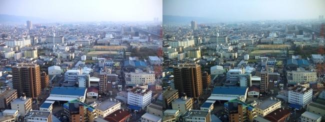 東大阪市役所 展望ロビーからの眺望①(平行法)