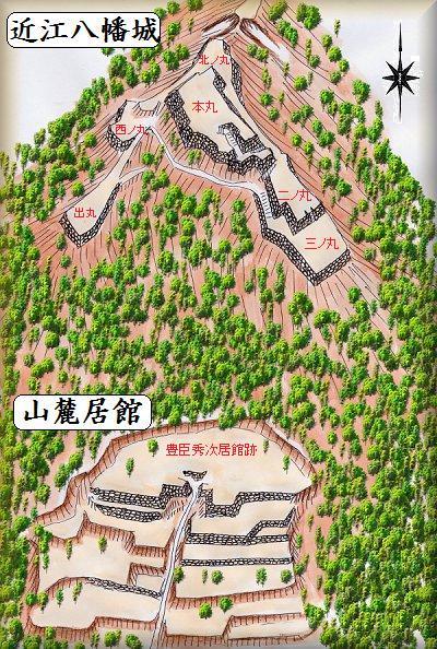 近江八幡城鳥瞰図