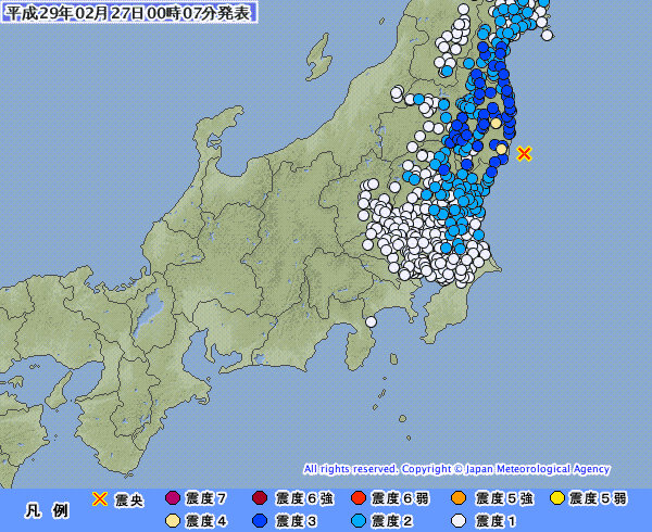 福島で震度3と4の地震が相次いで起きる…M4.9 震源地は福島県沖