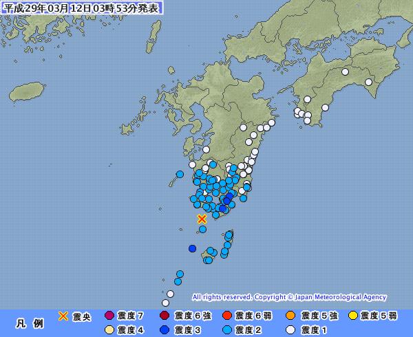 【地震】鹿児島県で最大震度3 「M5.1」 薩摩半島西方沖 深さ約140km…東北地方で最大震度4 福島県沖で「M5.3」