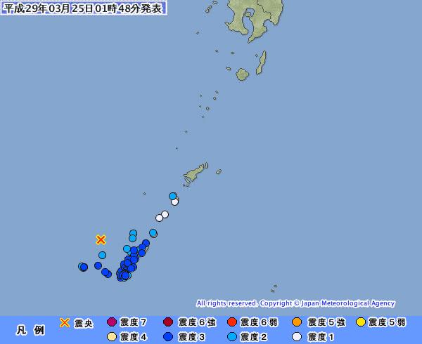沖縄で最大震度3の地震発生 M5.1 震源地は沖縄本島近海 深さ約90km