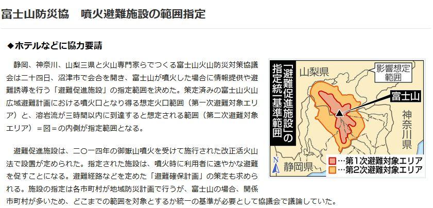 【噴火エリア】富士山が噴火した場合の噴火避難施設の範囲を指定…溶岩流が3時間以内に到達すると想定