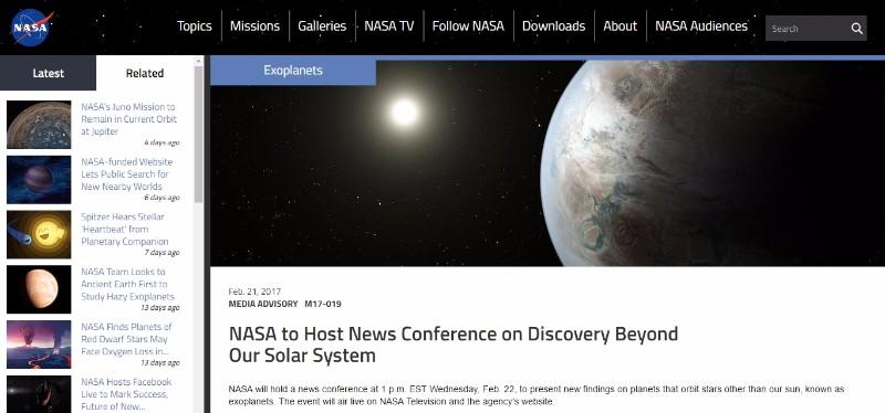 【宇宙ヤバイ】NASAが22日(日本時間23日午前3時頃)重大発表をすると告知…地球外生命体?太陽系外惑星に関する何かしらの発見か