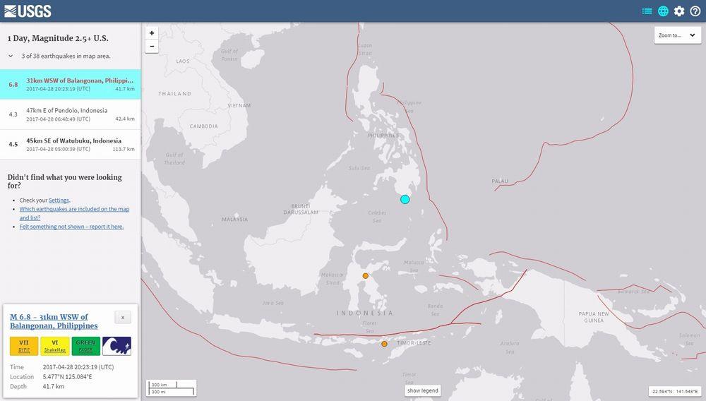 フィリピン、ミンダナオ島付近で「M6.8」の地震発生