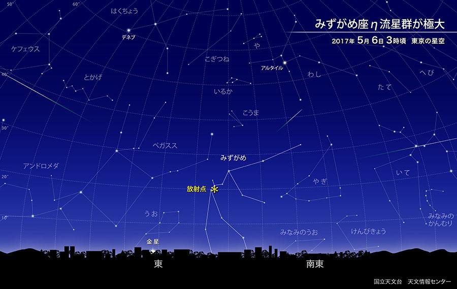 【夜空】 国立天文台「ゴールデンウィーク後半の5月6日は、みずがめ座エータ流星群が極大を迎えます」