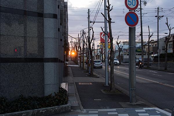 街に沈む夕陽