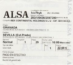 billete de de Granada a Sevilla