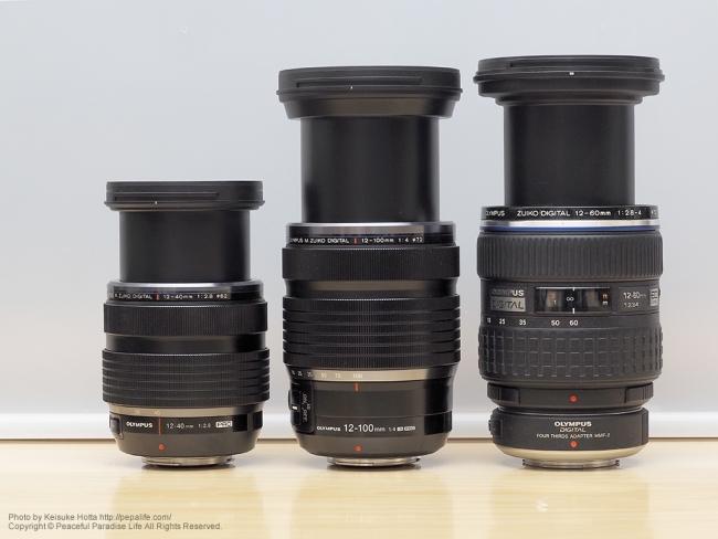 12-100mmF4.0と12-40mmF2.8と12-60mmF2.8-4.0の大きさ比較2