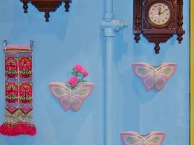レトロチャイナ☆80年代デッドストック☆ちょうちょの壁掛けフラワーべース