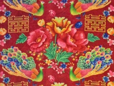 ふわふわ素材のチャイナ花布
