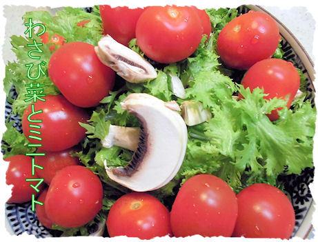 わさび菜とミニトマト