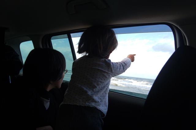 日本海を見て佐渡を指さす娘