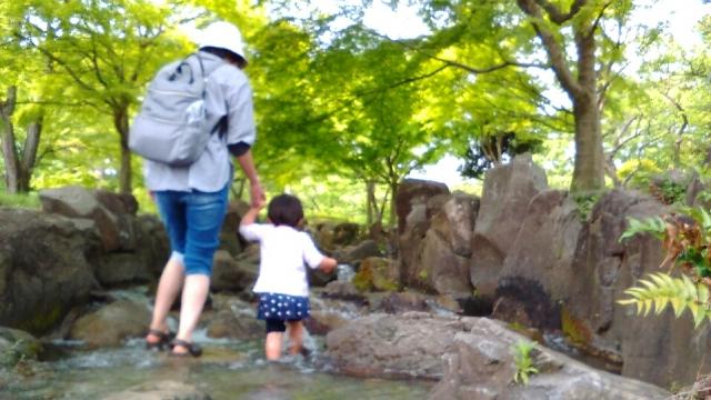 府中郷土の森の水遊び場にて