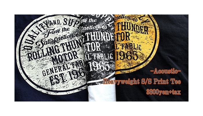 2017-03-16 ヘビーウェイト半袖プリントTシャツ ROLLING THUNDER アコースティック Acoustic