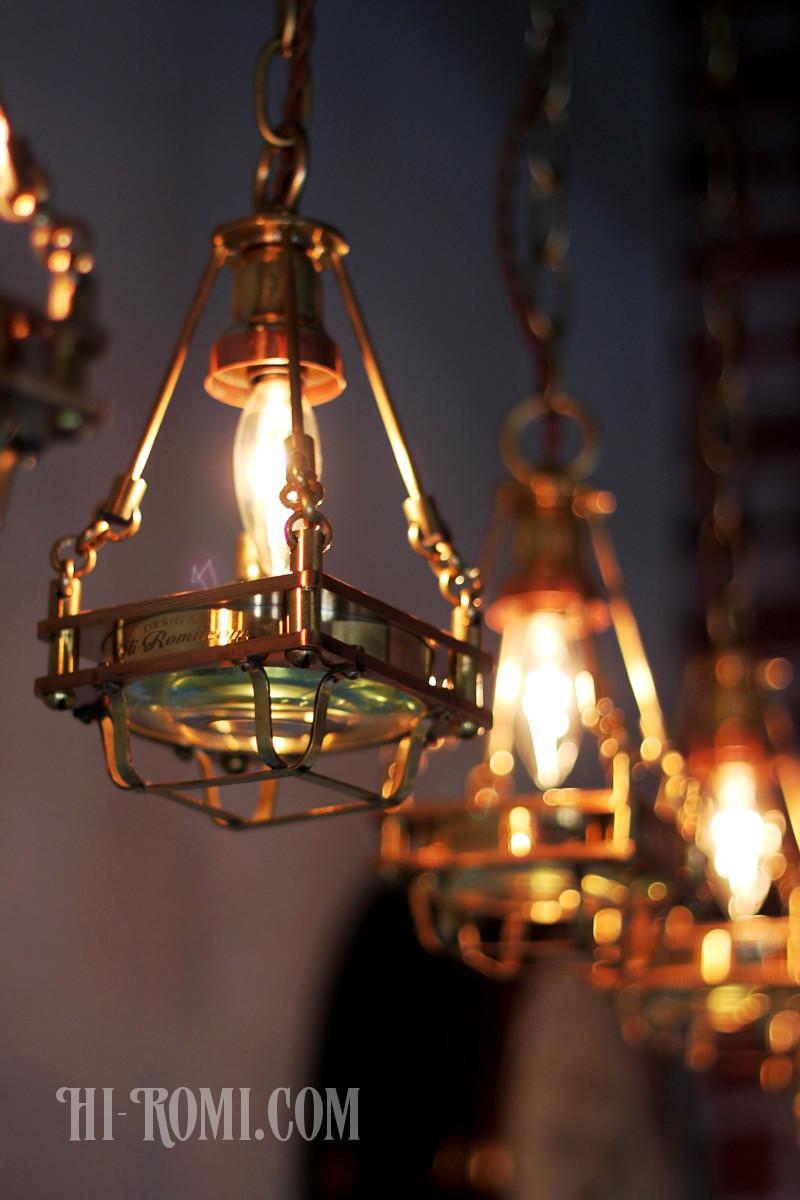 【数量限定】ケージ&レンズ付真鍮製工業系ペンダントライト/インダストリアル吊下げライト/スチームパンク