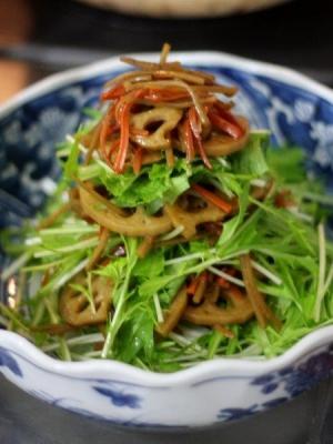 きんぴらレンコンと水菜のデリ風サラダ